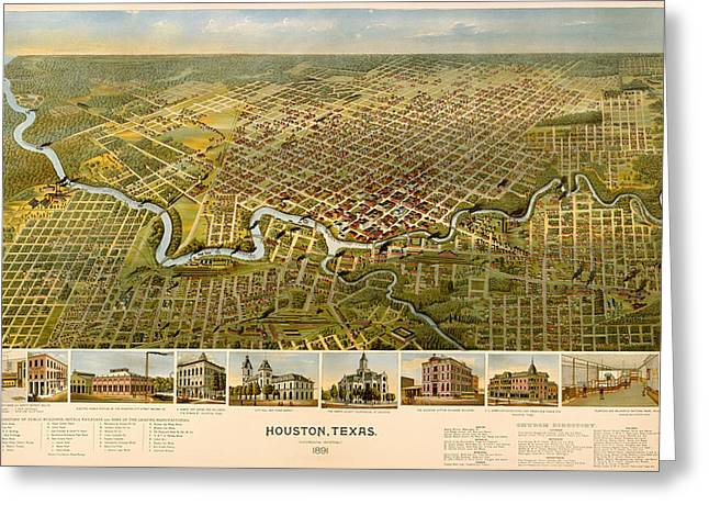 Historic Home Drawings Greeting Cards - Vintage Illustrative Map of Houston Texas Greeting Card by Mountain Dreams