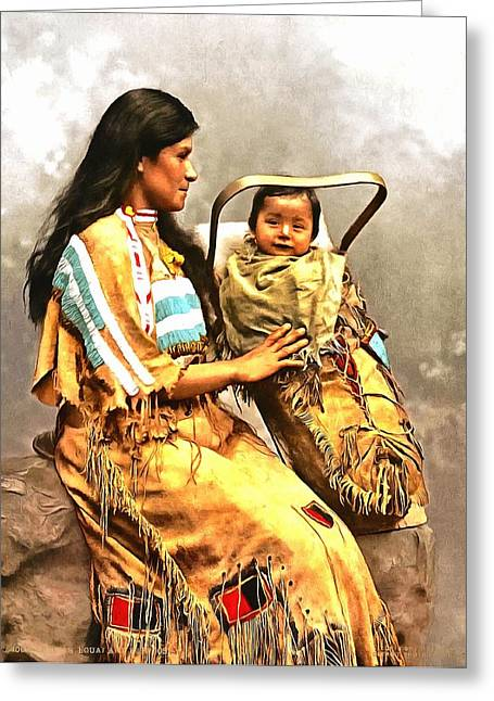 Ojibwast Equa And Papoose Greeting Card by Vintage Image Collection