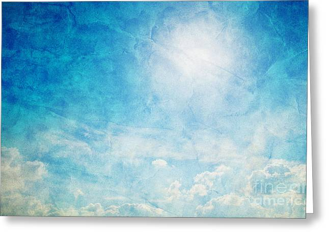 Paint Photograph Greeting Cards - Vintage image of sunny blue sky Greeting Card by Michal Bednarek