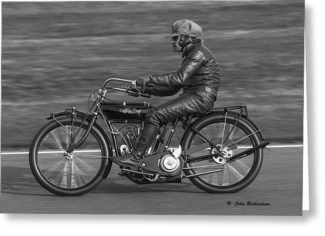 Motorcycles Pyrography Greeting Cards - Vintage Indian Motorcycle Greeting Card by John Richardson