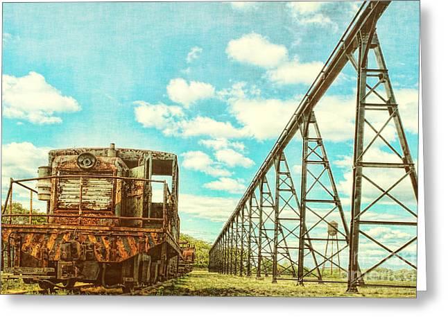 Diesel Locomotives Greeting Cards - Vintage Industrial Postcard Greeting Card by Olivier Le Queinec