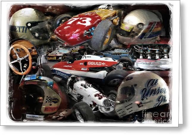 Indy Car Greeting Cards - Vintage Indy Greeting Card by Tom Griffithe