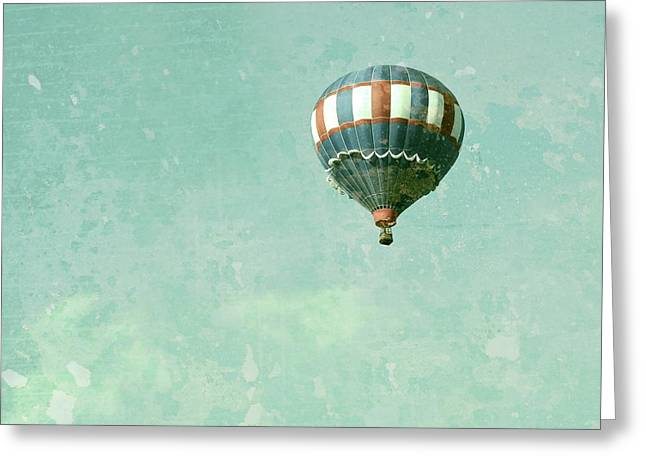 Floating Girl Greeting Cards - Vintage Inspired Hot Air Balloon in Red White and Blue Greeting Card by Brooke Ryan