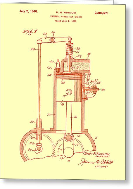 Old Trucks Drawings Greeting Cards - Vintage Internal Combustion Engine Patent 1940 Greeting Card by Mountain Dreams