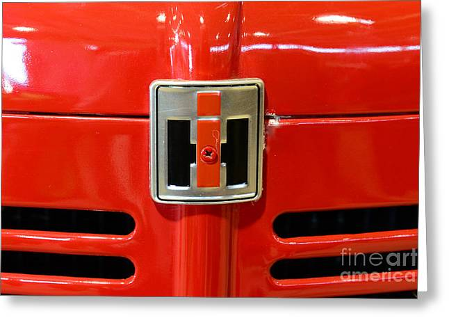 Equipment Greeting Cards - Vintage International Harvester Tractor Badge Greeting Card by Paul Ward