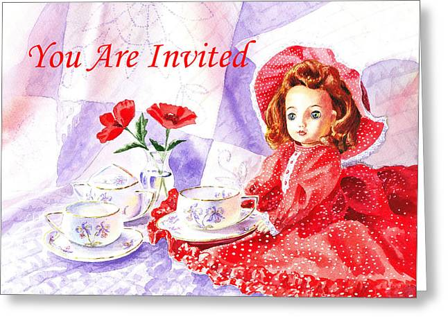 Tea Set Greeting Cards - Vintage Invitation Greeting Card by Irina Sztukowski