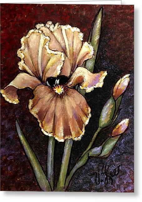 Vintage Iris Greeting Card by VLee Watson