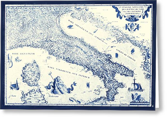 Florence Mixed Media Greeting Cards - Vintage Italy Map Greeting Card by Dan Sproul