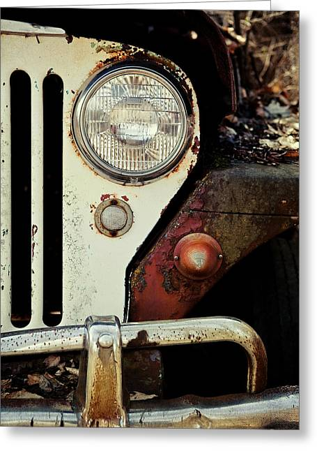 Best Sellers -  - Rusted Cars Greeting Cards - Vintage Jeep Willys Rusty Classic Car Greeting Card by Lisa Russo