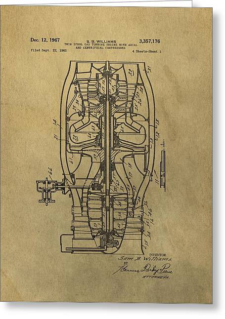 Airplane Engine Greeting Cards - Vintage Jet Engine Patent Greeting Card by Dan Sproul
