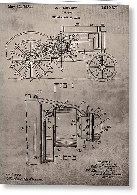Music Time Greeting Cards - Vintage John Deere Tractor Patent Greeting Card by Dan Sproul