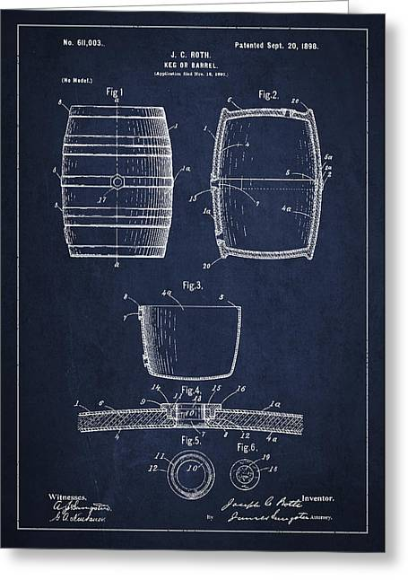Barrel Greeting Cards - Vintage Keg or Barrel Patent Drawing from 1898 - Navy Blue Greeting Card by Aged Pixel
