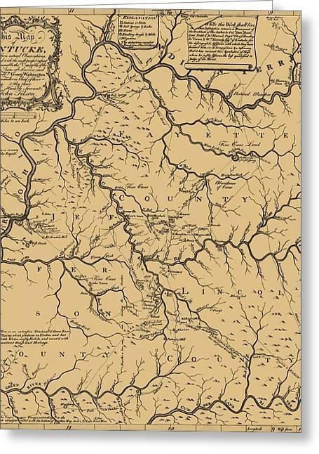 Vintage Map Digital Art Greeting Cards - Vintage Kentucky Map Greeting Card by Dan Sproul