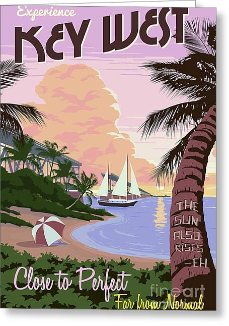 Vintage Key Greeting Cards - Vintage Key West Travel Poster Greeting Card by Jon Neidert