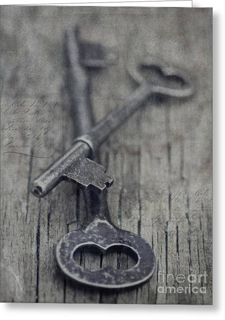 Grey Fine Art Greeting Cards - Vintage Keys Greeting Card by Priska Wettstein