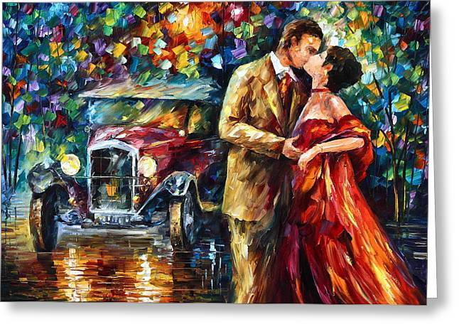 Night Out Paintings Greeting Cards - Vintage Kiss Greeting Card by Leonid Afremov