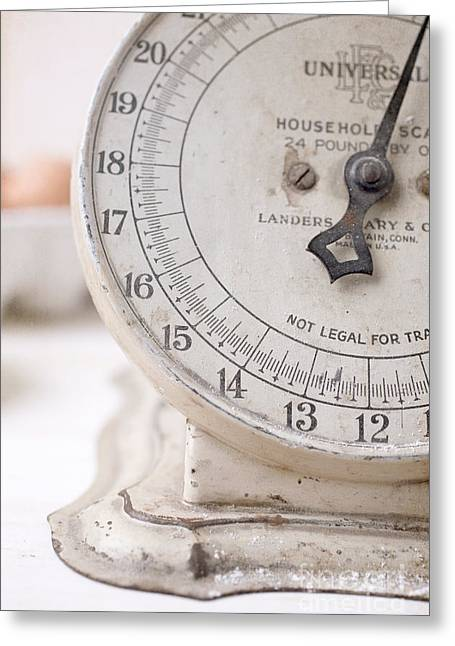 Decor Photography Greeting Cards - Vintage Kitchen Scale Greeting Card by Edward Fielding