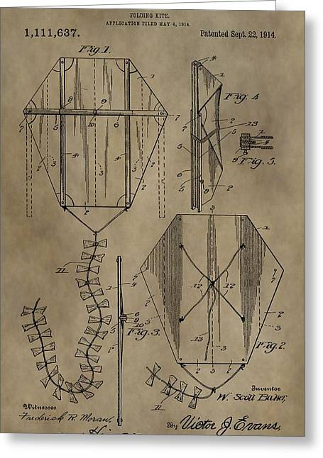 Kite Greeting Cards - Vintage Kite Patent Greeting Card by Dan Sproul