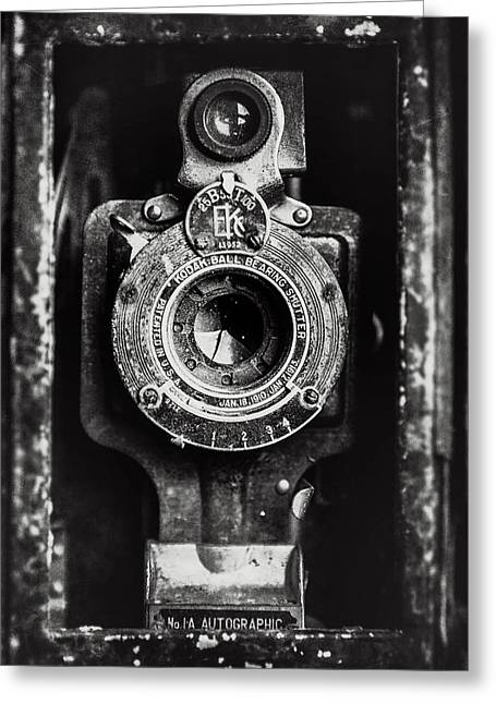 Gift For Photographer Greeting Cards - Vintage Kodak Camera Photography in Black and White Greeting Card by Lisa Russo