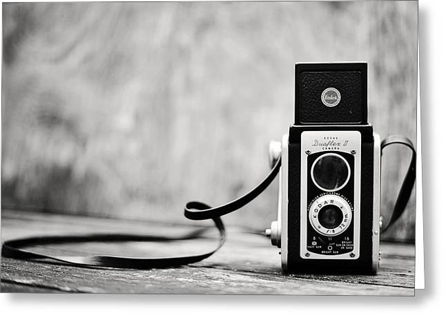 Aperture Greeting Cards - Vintage Kodak Duaflex II Camera Black and White Greeting Card by Terry DeLuco
