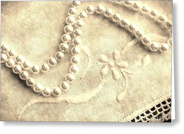 Old Tapestries - Textiles Greeting Cards - Vintage Lace and Pearls Greeting Card by Barbara Griffin