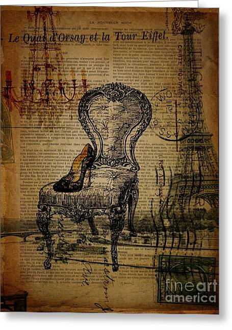 Vintage Lace Stiletto Rococo Chair Chandelier Paris Eiffel Tower Greeting Card by Cranberry Sky