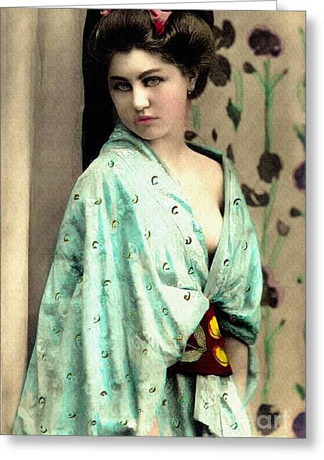 Nostalgic Greeting Cards - Vintage Lady In Kimono 7x11 Greeting Card by Lesa Fine