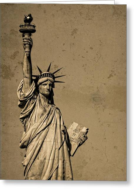 Pledge Of Allegiance Greeting Cards - Vintage Lady Liberty Greeting Card by Dan Sproul