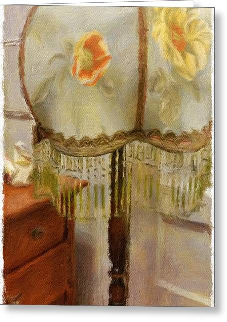 Historic Home Mixed Media Greeting Cards - Vintage Lamp Greeting Card by Bonnie Bruno