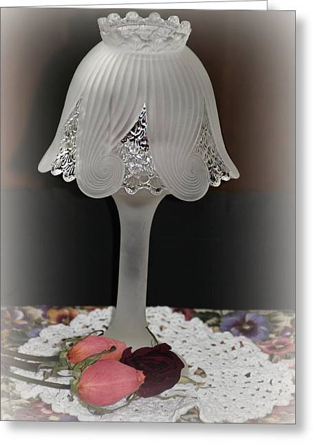 Crocheted Doily Greeting Cards - Vintage Lamp Greeting Card by Katie Wing Vigil
