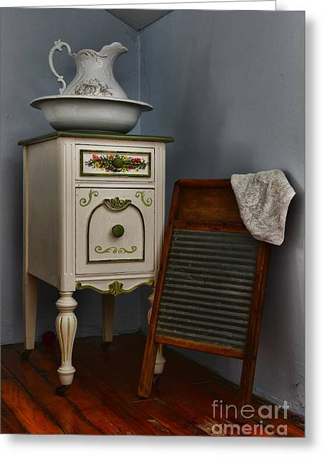 Old Washboards Photographs Greeting Cards - Vintage Laundry and Wash Room Greeting Card by Paul Ward