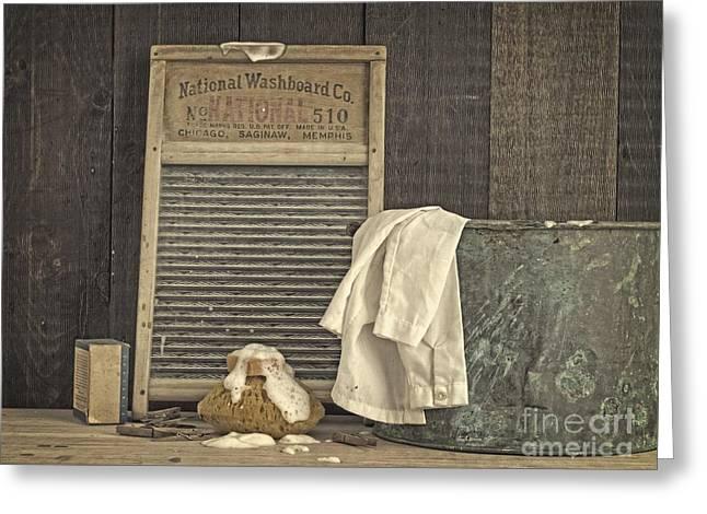 Vintage Laundry Room II By Edward M Fielding Greeting Card by Edward Fielding