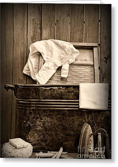 Laundry Mat Greeting Cards - Vintage Laundry Room in Sepia	 Greeting Card by Paul Ward