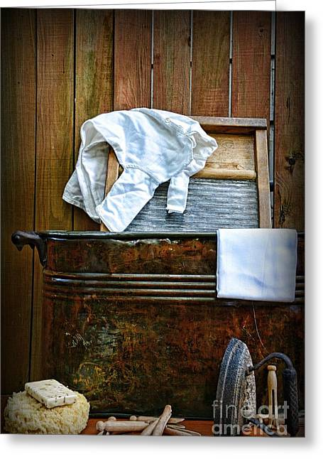 Laundry Mat Greeting Cards - Vintage Laundry Room  Greeting Card by Paul Ward