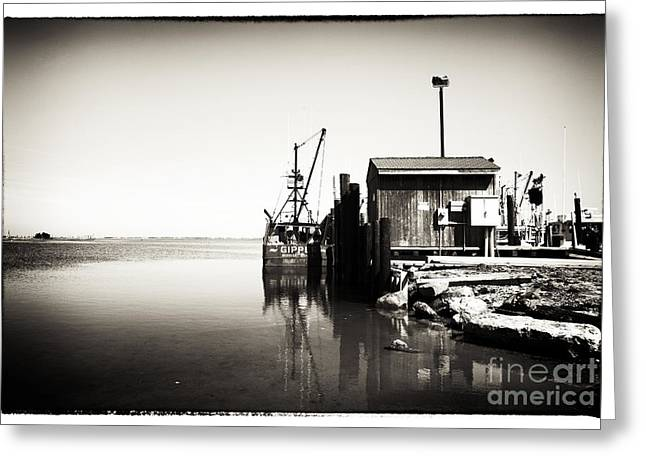 Ship In Sepia Greeting Cards - Vintage LBI Bay Greeting Card by John Rizzuto