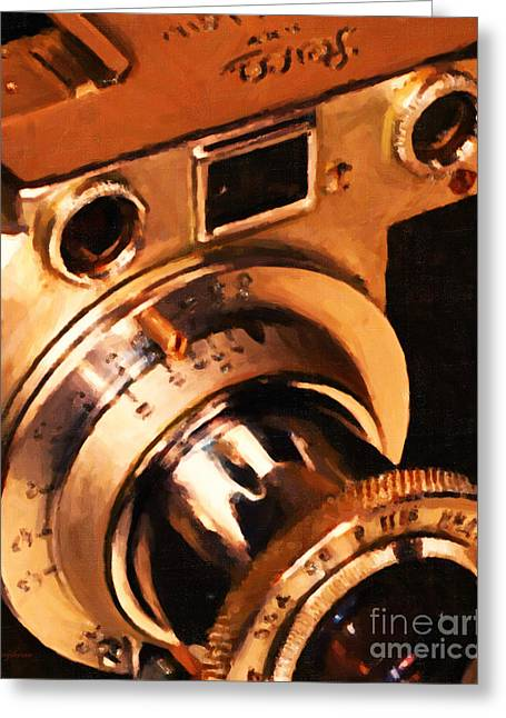 Vintage Leica Camera - 20130117 - Painterly V2 Greeting Card by Wingsdomain Art and Photography
