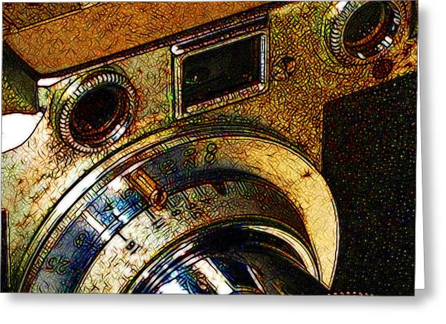 Vintage Leica Camera - 20130117 - V2 - Square Greeting Card by Wingsdomain Art and Photography