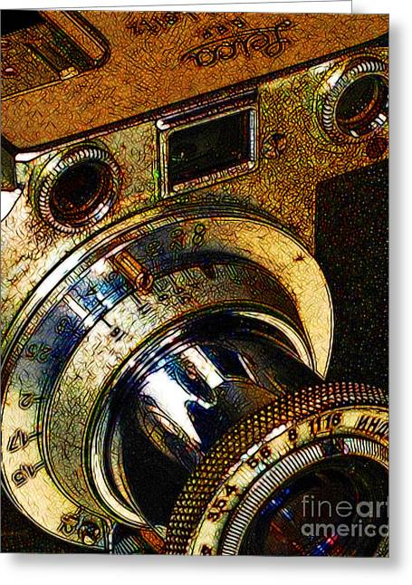 Reflex Greeting Cards - Vintage Leica Camera - 20130117 - v2 Greeting Card by Wingsdomain Art and Photography