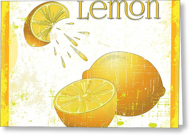 Lori Malibuitalian Greeting Cards - Vintage Lemon Grunge Greeting Card by Lori Malibuitalian