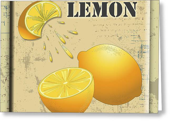 Lori Malibuitalian Greeting Cards - Vintage Lemon Label Greeting Card by Lori Malibuitalian