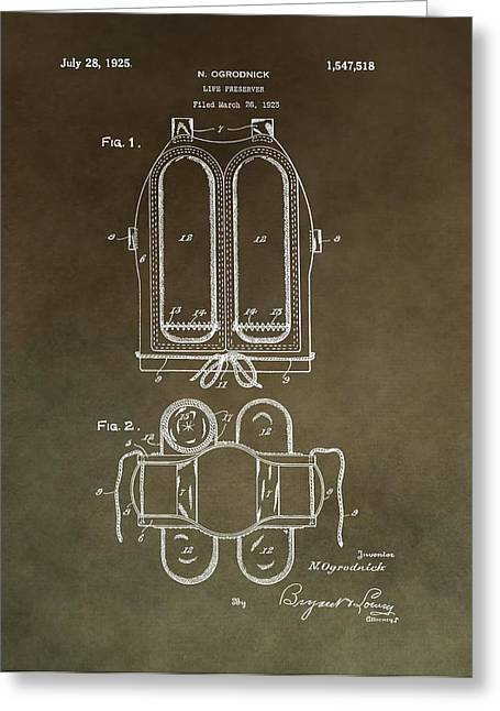Docked Boats Mixed Media Greeting Cards - Vintage Life Preserver Patent Greeting Card by Dan Sproul