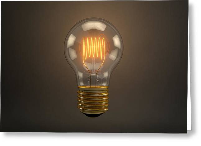 Electricity Greeting Card featuring the digital art Vintage Light Bulb by Scott Norris
