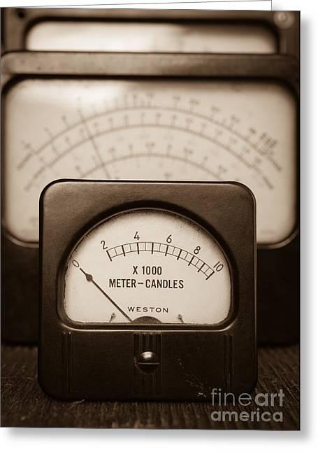 Electrical Meter Greeting Cards - Vintage Light Meter Greeting Card by Edward Fielding