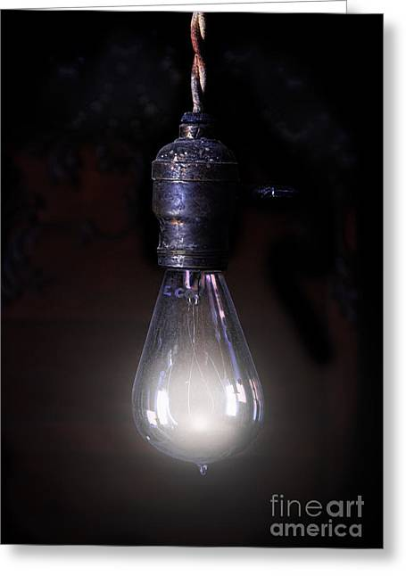 Edison Greeting Cards - Vintage Lightbulb Greeting Card by Jill Battaglia