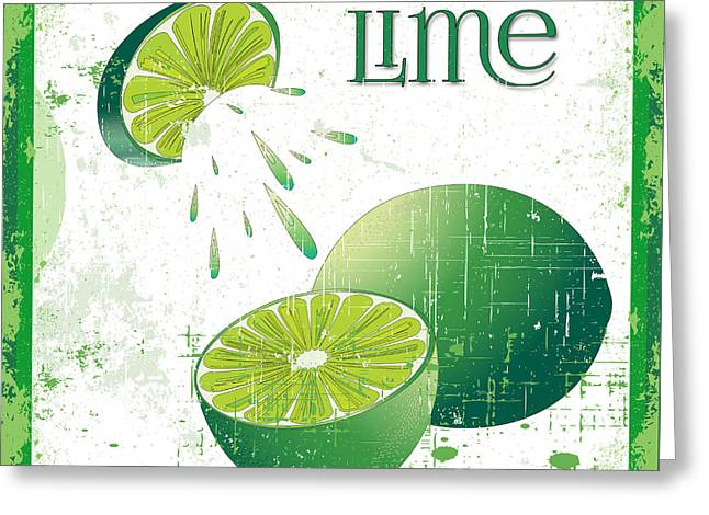 Lori Malibuitalian Greeting Cards - Vintage Lime Grunge Greeting Card by Lori Malibuitalian