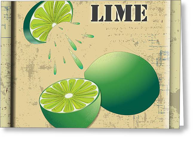 Lori Malibuitalian Greeting Cards - Vintage Lime Label Greeting Card by Lori Malibuitalian