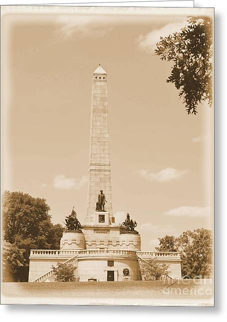 Mary Todd Lincoln Greeting Cards - Vintage Lincolns Tomb Greeting Card by Luther   Fine Art