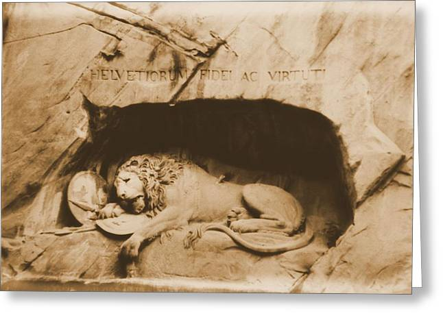Vintage Lion Of Lucerne Greeting Card by Dan Sproul