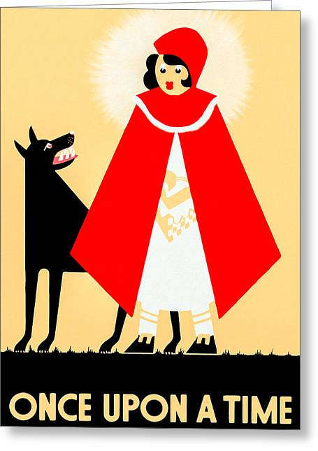 Fabled Greeting Cards - Vintage Little Red Riding Hood Poster Greeting Card by Mark Tisdale