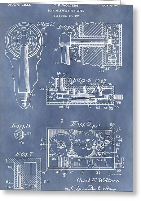 Mechanism Greeting Cards - Vintage Lock Patent Greeting Card by Dan Sproul